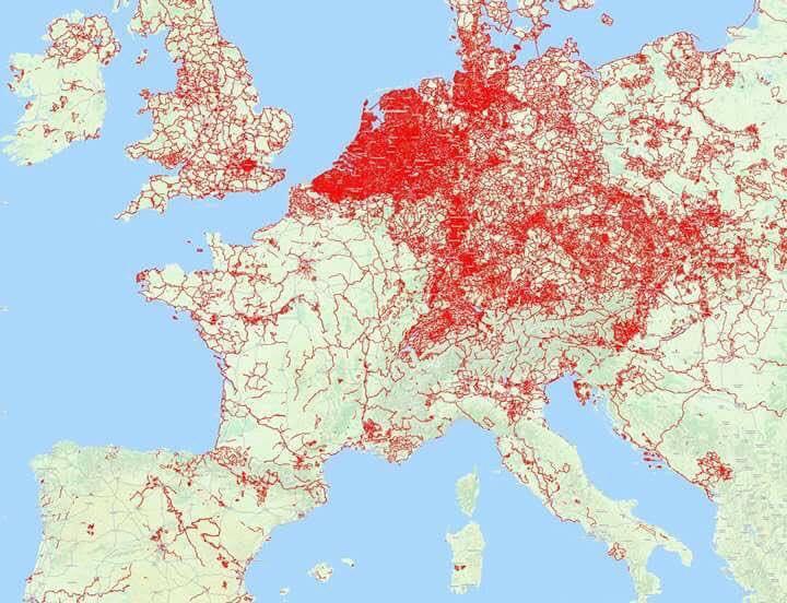 Densità delle piste ciclabili in Europa