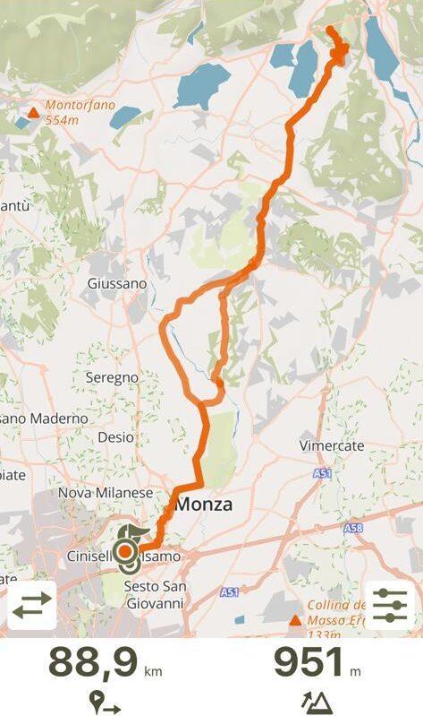 La traccia del giro in bici da Cinisello al Monte Barro