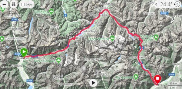 Traccia Chiavenna-passo Maloja-St Moritz-passo Bernina-Tirano