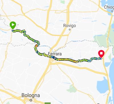 Mappa dell'itinerario Ostiglia-ferrara-codigoro-pomposa